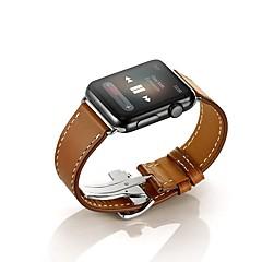 Banda de relogio para relógio de maçã 38mm 42mm couro de reposição pulseira fivela de borboleta