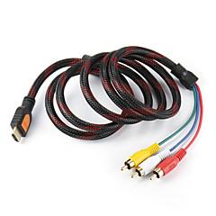 3 RCA Fiş Video Ses AV Kablosu Dönüştürücü Connector 5 Feet HDMI Erkek Giriş, Dayanıklı (Siyah, 1.5M)
