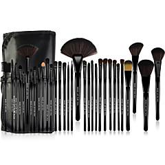 32-osainen ponin harjasta valmistettu Make-up For You® -meikkisivellinsarja peitevoiteelle/puuterille/poskipunalle ja silmämeikille/huulille (musta)
