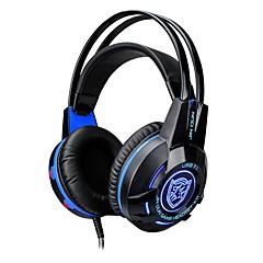 K1 fejpántos vezetékes fejhallgató dinamikus műanyag játékfülhallgató fényerővel mikrofonnal hangerő szabályozó fejhallgatóval