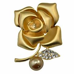 Damskie Broszki Diament Pearl imitacja Modny Osobiste Klasyczny Stop Flower Shape Biżuteria Na Impreza Party Wieczór Etap