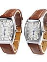 Pair of Unisex PU Analog Quartz Wrist Watch (Brown) Cool Watches Unique Watches Fashion Watch Strap Watch
