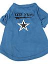 Caes Camiseta Azul Roupas para Caes Primavera/Outono Estrelas