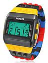 Мужской Наручные часы электронные часы Цифровой LCD Календарь Секундомер тревога Pезина Группа Разноцветный Черный/Желтый