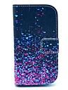 Capa de Couro Diamante Fragmento Padrão PU com slot para cartão e suporte para Samsung Galaxy S3 mini-I8190