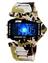 SKMEI 남성 스포츠 시계 밀리터리 시계 디지털 시계 LED LCD 달력 크로노그래프 방수 석영 디지털 일본 쿼츠 실리콘 밴드 블루 브라운 그레이
