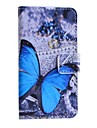 Blue Butterfly Pattern PU Leather Case with Stand and Card Slot for Huawei Y330