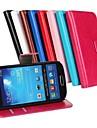 용 삼성 갤럭시 케이스 카드 홀더 / 스탠드 / 플립 케이스 풀 바디 케이스 단색 인조 가죽 Samsung S4 Mini