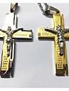 Homme Pendentif de collier Forme de Croix Acier au titane Plaque or Argent Dore Bijoux Pour Mariage Soiree Quotidien Decontracte