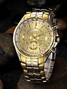 Men\'s Gold Round Dial Alloy Band Quartz Analog Wrist Watch Cool Watch Unique Watch Fashion Watch