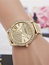 Mulheres Relógio Elegante Relógio de Moda Relógio de Pulso Quartzo imitação de diamante Lega Banda Dourada