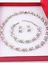Women\'s Jewelry Set Stud Earrings Pearl Strands Pearl Necklace Pearl Elegant Costume Jewelry Pearl Imitation Diamond Circle Earrings