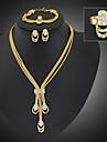 Femme Set de Bijoux Mode Bijoux Fantaisie Long bijoux de fantaisie Plaque or Imitation Diamant Bijoux Boucles d\'oreille Collier Bracelet