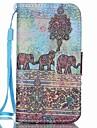 elefante padrao de couro pu caso de telefone cartao de aleta material para iphone 4 / 4s