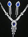 Ensemble de bijoux Cristal Gemme Plaque argent Mode Jaune Bleu Set de Bijoux Soiree Occasion speciale Anniversaire Cadeaux de mariage