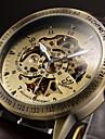 남성용 손목 시계 기계식 시계 오토메틱 셀프-윈딩 중공 판화 가죽 밴드 럭셔리 블랙 브라운