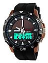 SKMEI 남성 스포츠 시계 손목 시계 LED 달력 크로노그래프 방수 듀얼 타임 존 경보 태양 에너지 스포츠 시계 태양 에너지 PU 밴드 럭셔리 블랙