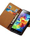 용 삼성 갤럭시 케이스 지갑 / 카드 홀더 / 스탠드 / 플립 케이스 풀 바디 케이스 단색 인조 가죽 Samsung S5 Mini