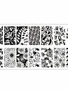 цветок тема ногтей штамп шаблон изображения пластина rctangular штамповки пластин родилась довольно