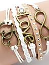 Жен. Заклепка Кожаные браслеты Базовый дизайн Любовь Сердце Многослойный Мода Ручная работа бижутерия Кожа В форме сердца Любовь