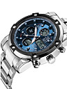 ASJ® Men\'s Sport Watch Japanese Quartz LCD Chronograph Water Resistant / Water Proof Dual Time Zones Stopwatch Noctilucent Stainless Steel Band Watch