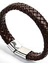 Fashion Mens\' 316L Satinless Steel Clasp Leather Bracelets