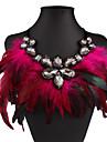 Жен. Ожерелья с подвесками Свисающие Хрусталь Стразы Перья Нейлон Сексуальные платья Мода европейский Массивные украшения бижутерия