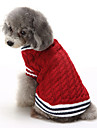 Gatos Caes Sueters Roupas para Caes Inverno Blocos de cor Casual Mantenha Quente Natal Vermelho Azul