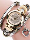 Women\'s Fashion Watch Bracelet Watch Casual Watch / Quartz PU Band Vintage Heart shape Cool Casual Black White Blue Red Brown