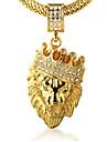 Men\'s Pendant Necklaces Rhinestone Crown Animal Shape Lion Gold Imitation Diamond 18K gold Alloy Rock Personalized Costume Jewelry Jewelry