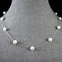 preiswerte Ohrringe-Perle Perlenkette - Perle, Sterling Silber Weiß, Schwarz, Rosa Modische Halsketten Für Hochzeit, Party, Jahrestag / Verlobung / Geschenk / Alltag