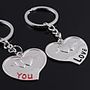 hesapli Anahtarlıklar-Kişiselleştirilmiş Ürünler-İşlemeli Hediye Lover Anahtarlık Şeklinde Bir Çift Kalp Kişiselleştirilmiş