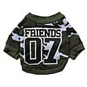 hesapli Köpek Giyim ve Aksesuarları-Kedi Köpek Tişört Köpek Giyimi kamuflaj Yeşil Pamuk Kostüm Evcil hayvanlar için