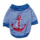 cheap Dog Clothing & Accessories-Cat Dog Shirt / T-Shirt Dog Clothes Stripes Red Blue Cotton Costume For Spring &  Fall