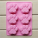 cheap Bakeware-6 Holes Cat Paw Shape Cake Mold Ice Jelly Chocolate Silicone Mould