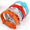 preiswerte Hundehalsbänder, Geschirre & Leinen-einstellbare PU-Leder Krone geformt Strass verziert Kragen für Hunde (farblich sortiert)