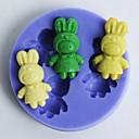 hesapli Fırın Araçları ve Gereçleri-tavşanları şeklindeki fondan kek çikolata silikon kalıp kek dekorasyon araçları, l5.6cm * w5.6cm * h1cm