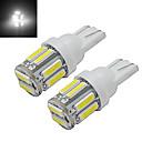 cheap Other LED Lights-2pcs 1W T10 LED W5W Car Bulb Wedge Map Lamp Light 10 leds SMD 7020 Cold White DC 12V