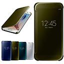 abordables Coques / Etuis pour Galaxy Série S-Coque Pour Samsung Galaxy Samsung Galaxy Coque Avec Ouverture Miroir Clapet Transparente Coque Intégrale Couleur unie PC pour S6