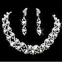 tanie Zestawy biżuterii-Perła Frędzel Biżuteria Ustaw - Perłowy, Cyrkonia, Posrebrzany Imprezowa, Modny, Ślubny Zawierać White Na Ślub / Impreza / Specjalne okazje / Náušnice / Naszyjniki