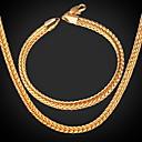 ieftine Seturi de Bijuterii-Bărbați femei Placat Auriu cercei Bijuterii Auriu Pentru Nuntă Petrecere Zilnic Casual Sport / Coliere / Brățară