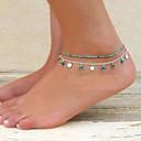 ieftine Brățară Gleznă-Pentru femei Turcoaz Brățară Gleznă Sandale Desculț picioare bijuterii Dublu femei Design Unic Bikini Modă Turcoaz Brățară Gleznă Bijuterii Pentru Petrecere Zilnic Casual Plajă