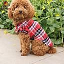 저렴한 강아지 의류 & 악세사리-고양이 강아지 티셔츠 강아지 의류 격자무늬/체크 레드 그린 블루 면 코스츔 애완 동물 코스프레 웨딩
