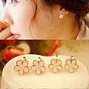 hesapli Küpeler-Kadın's Klipsli Küpeler - Çiçek Beyaz / Pembe Uyumluluk Düğün / Parti / Günlük