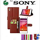 hesapli Makyaj ve Tırnak Bakımı-Pouzdro Uyumluluk Sony Z5 Sony Sony Xperia M5 Xperia Z5 Sony Kılıf Kart Tutucu Cüzdan Satandlı Flip Tam Kaplama Kılıf Tek Renk Sert PU