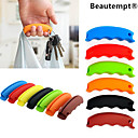 cheap Kitchen Storage-1PCS Multi-function Silicone Shopping Bag Grip Handle Carrier Grocery Holder with Keychain Hole(Random Color
