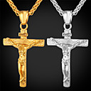 hesapli Kolyeler-Erkek Uçlu Kolyeler - 18K Altın Kaplama Krzyż Moda, Hiphop Altın, Beyaz Kolyeler Uyumluluk Parti, Günlük Giyim, Cadde