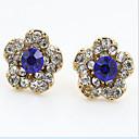 ieftine Cercei-Cristal Cercei Stud Floare Birou Casual Modă Zirconiu Cubic Ștras cercei Bijuterii Bleumarin Pentru 2 buc