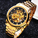 cheap Men's Watches-Men's Wrist Watch Mechanical Watch Automatic self-winding 30 m Water Resistant / Water Proof Hollow Engraving Stainless Steel Band Analog Luxury Sparkle Gold - White Black Golden