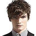hesapli Sentetik Peruklar-Sentetik Peruklar Dalgalı Bantlı Sentetik Saç Yan Parti Kahverengi Peruk Erkek / Kadın's Şort Bonesiz Kahverengi